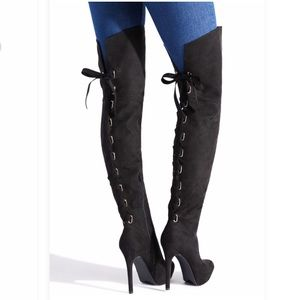 SEXY Thigh high lace up stiletto boots